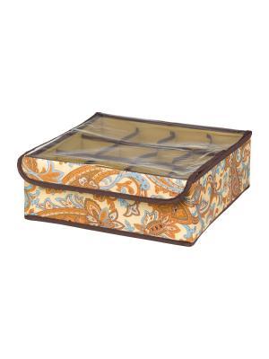 Кофр для нижнего белья и носков Перо павлина EL CASA. Цвет: оранжевый, голубой, коричневый