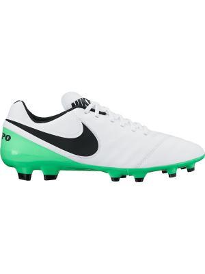 Бутсы TIEMPO GENIO II LEATHER FG Nike. Цвет: белый, зеленый