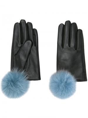 Перчатки с помпонами Cityshop. Цвет: чёрный
