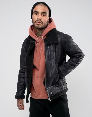 Sixth June Черная свободная куртка из искусственной овечьей шерсти. Цвет: черный