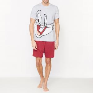 Пижама с шортами рисунком BUGS BUNNY. Цвет: серый/ красный