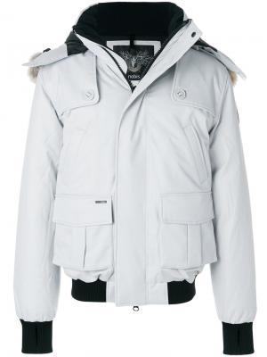 Пальто-пуховик Cartel с контрастной окантовкой Nobis. Цвет: серый