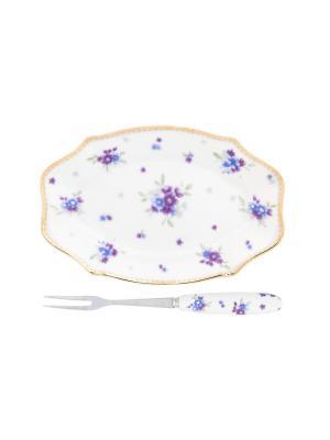 Тарелочка под лимон Сиреневый туман Elan Gallery. Цвет: белый, зеленый, сиреневый