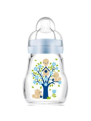 Бутылочка для кормления стеклянная, 170 мл MAM. Цвет: голубой