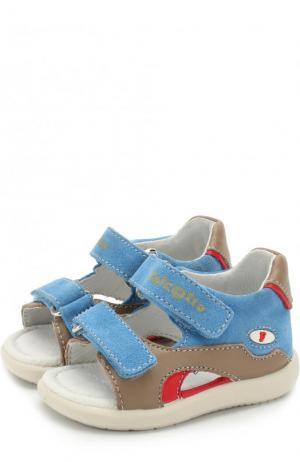 Кожаные сандалии с замшевой отделкой и застежками велькро Falcotto. Цвет: голубой