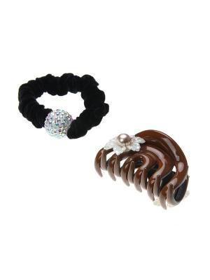 Аксессуары для волос (Заколка - краб, резинка) Migura. Цвет: бежевый, белый, черный