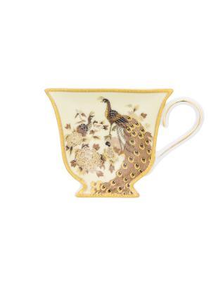 Подставка под чайный пакетик Павлин на бежевом Elan Gallery. Цвет: бежевый,коричневый