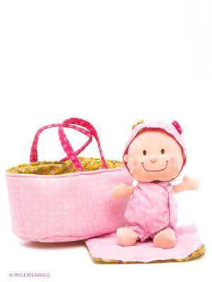 Мягкая куколка в переноске Lilliputiens. Цвет: розовый, зеленый, фуксия