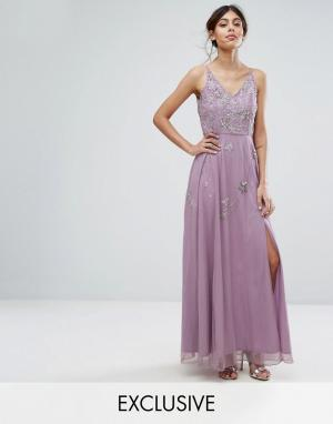 Frock and Frill Платье макси с отделкой в виде звездочек и разрезом. Цвет: серый