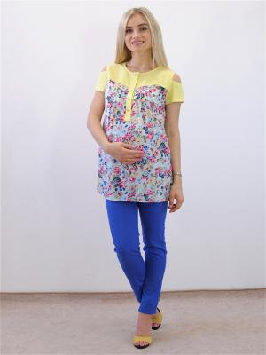 Блузка Адель. Цвет: голубой, желтый, розовый