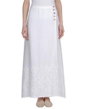 Длинная юбка LA FABBRICA DEL LINO. Цвет: белый