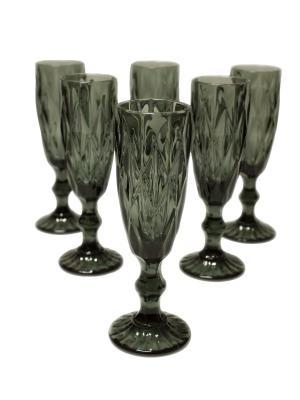 Набор фужеров Алькор под шампанское из цветного стекла, 6шт. DEEPOT. Цвет: серый