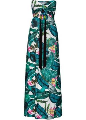 Длинное летнее платье (зеленый в цветочек) bonprix. Цвет: зеленый в цветочек