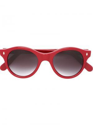 Солнцезащитные очки в круглой оправе Cutler & Gross. Цвет: красный