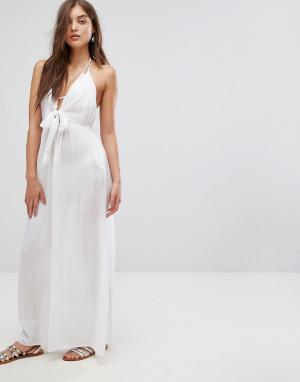 ASOS Пляжное тканое платье макси с завязкой. Цвет: белый