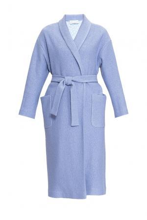 Пальто с поясом 163473 Private Sun. Цвет: синий
