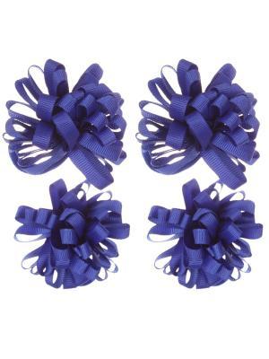 Банты из ленты на резинке, синие, набор 4 шт Радужки. Цвет: синий