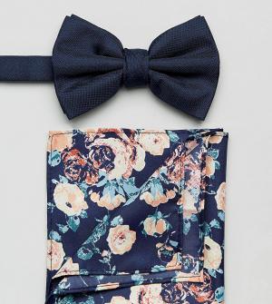 New Look Темно-синий галстук-бабочка и платок-паше с цветочным принтом. Цвет: мульти