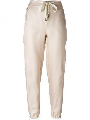 Декорированные брюки Ermanno Scervino. Цвет: телесный