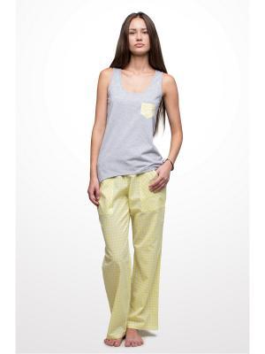 Пижама Косичкина. Цвет: желтый, белый, серый