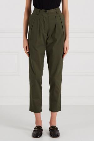 Хлопковые брюки на высокой талии Cyrille Gassiline BASE. Цвет: зеленый