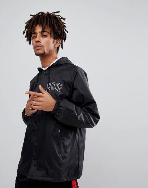 HUF Черная спортивная куртка с капюшоном и вышитым логотипом на спине. Цвет: черный