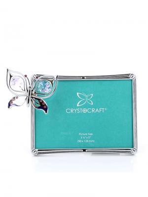 Фото рамка  Бабочка серебристого цвета с сиреневыми кристаллами CRYSTOCRAFT. Цвет: серебристый