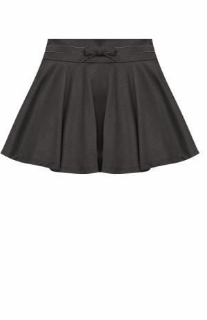 Трикотажная мини-юбка с декоративным бантом Aletta. Цвет: серый