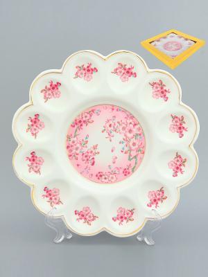 Тарелка для фаршированных яиц Сакура Elan Gallery. Цвет: розовый, белый