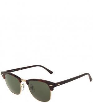 Солнцезащитные очки с зелеными линзами Ray Ban. Цвет: коричневый