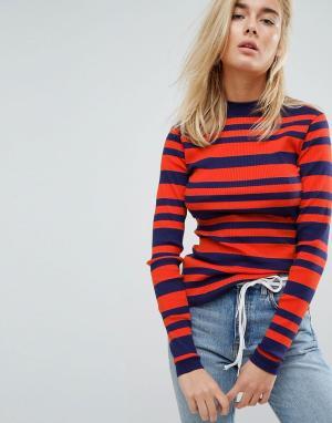 Tommy Jeans Трикотажный топ с полосками и логотипом. Цвет: оранжевый