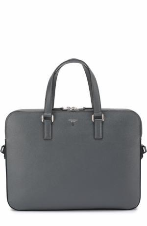 Кожаная сумка для ноутбука Serapian. Цвет: серый