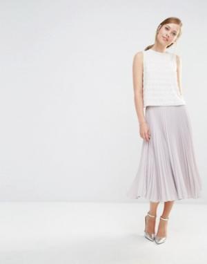 Closet London Плиссированная юбка миди. Цвет: stone