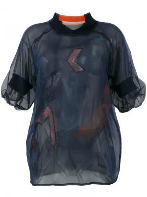 Многослойная полупрозрачная блузка Quetsche. Цвет: синий