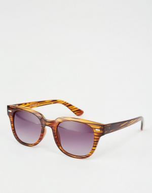 AJ Morgan Квадратные солнцезащитные очки в черепаховой оправе. Цвет: коричневый