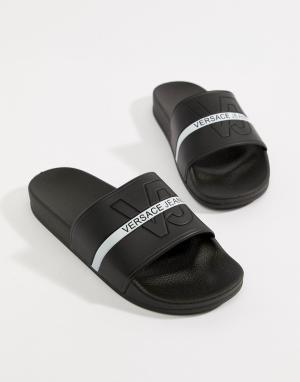 Versace Jeans Черные шлепанцы с логотипом. Цвет: черный