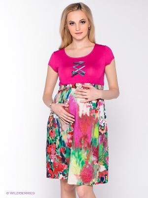 Платье UNIOSTAR. Цвет: фуксия, зеленый