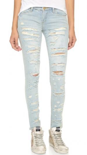 Состаренные джинсы-скинни Blank Denim. Цвет: голубой