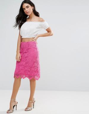Liquorish Кружевная юбка-карандаш. Цвет: розовый