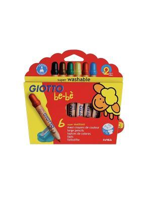 GIOTTO BEBE Super Largepencils 6 цвДеревянные карандаши с точилкой. FILA. Цвет: красный, желтый, синий