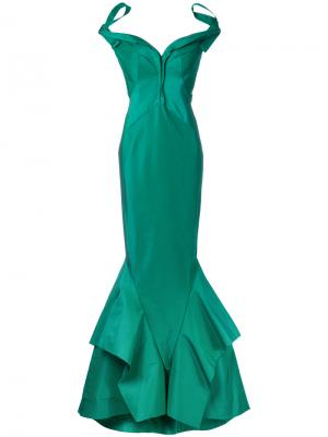 Длинное облегающее платье Zac Posen. Цвет: зелёный