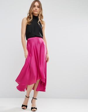 ASOS Атласная юбка миди с разрезами. Цвет: розовый