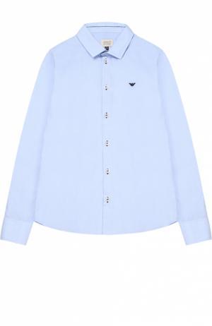 Классическая рубашка из хлопка Giorgio Armani. Цвет: голубой