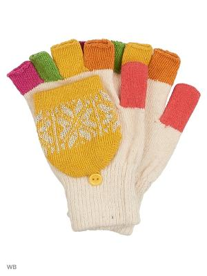 Перчатки lawiggi. Цвет: желтый, белый