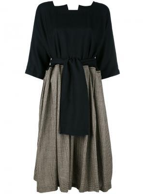 Платье с узором в ломаную клетку Daniela Gregis. Цвет: чёрный
