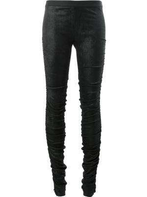 Облегающие брюки со сборками Ilaria Nistri. Цвет: чёрный