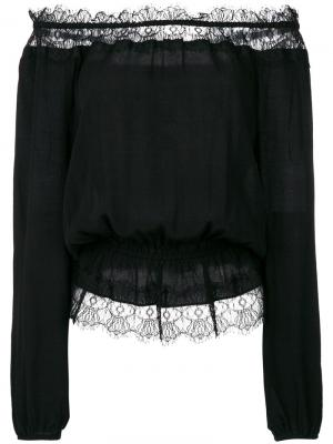 Блузка с открытыми плечами и кружевной отделкой Steffen Schraut. Цвет: чёрный