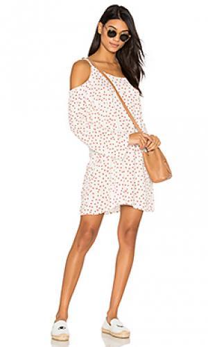 Платье с открытыми плечами gillas Michael Lauren. Цвет: белый
