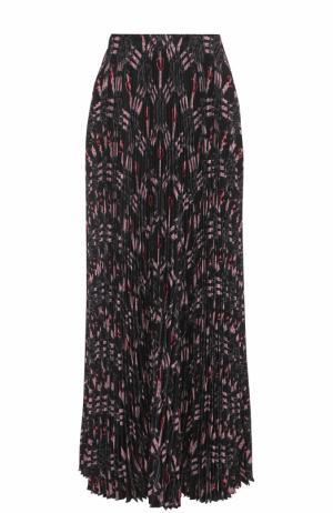 Шелковая плиссированная юбка с принтом Valentino. Цвет: черный
