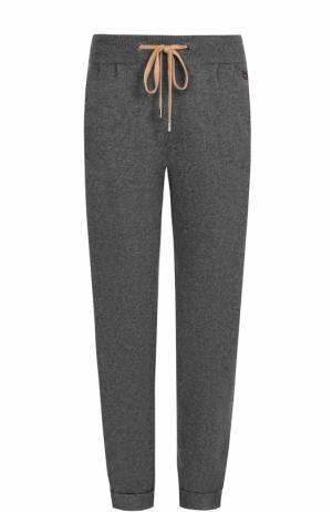 Укороченные кашемировые брюки с карманами Colombo. Цвет: серый